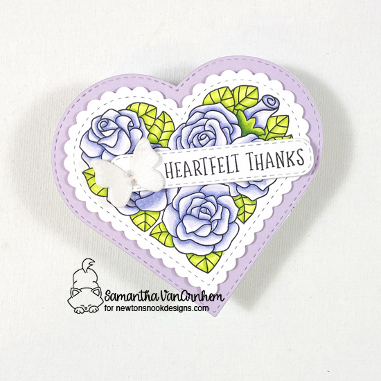 Thank you card by Samantha VanArnhem using Heartfelt Roses stamp set, Heart Frame die set, Banner Trio die set, Slimline Frames and Portholes die set