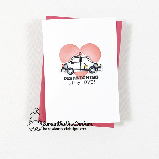 Valentine's Day cards by Samantha VanArnhem using Love Emergency stamp and die sets, Slimline Masking Hearts stencil set from Newton's Nook Designs