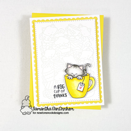 Thank you card by Samantha VanArnhem using Newton's Mug stamp and coordinating dies, Caffeinated Cats stamp set, Frames and Flags die set, Furr-ever Friends stamp set